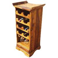 Redford Rustic Solid Wood Wine Cabinet With Stemware Glass