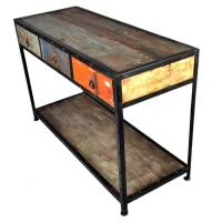 Stoneford Reclaimed Wood 3 Drawer Industrial Hall Console ...