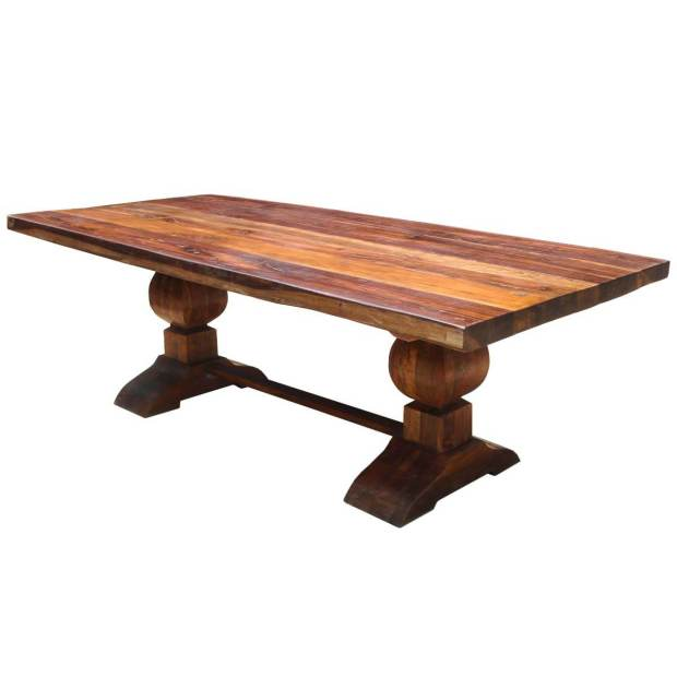 large rustic reclaimed wood double dining table