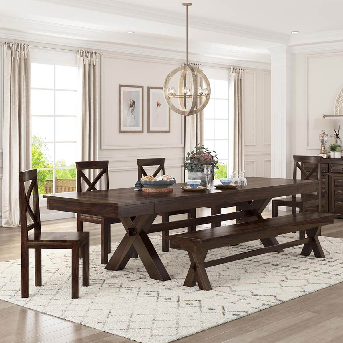 Westside Indoor Picnic Style Dining Table Bench Set with