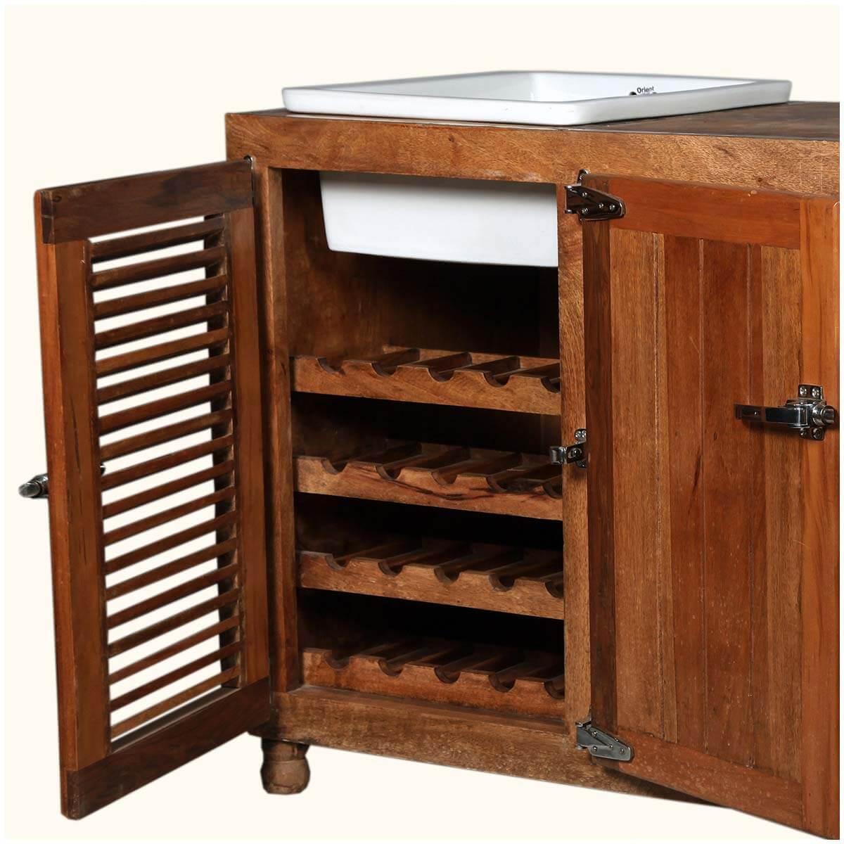 Mission Solid Wood Ceramic Wine Rack Kitchen Sink Cabinet
