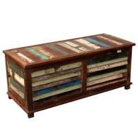 Rustic Reclaimed Wood Multi-Color Coffee Table Storage ...