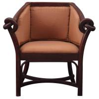 Contemporary Upholstered Indian Rosewood Barrel Chair