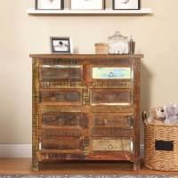 Newark Rustic Reclaimed Wood 8 Drawer Double Dresser