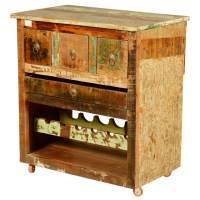 Merizo Rustic Reclaimed Wood Rolling Wheel Bar Cabinet ...