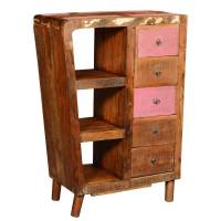 Rustic Reclaimed Wood 5 Drawer Storage Cabinet w Display ...