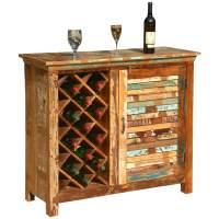 Garrard Rustic Reclaimed Wood Single Door Bar Cabinet w ...