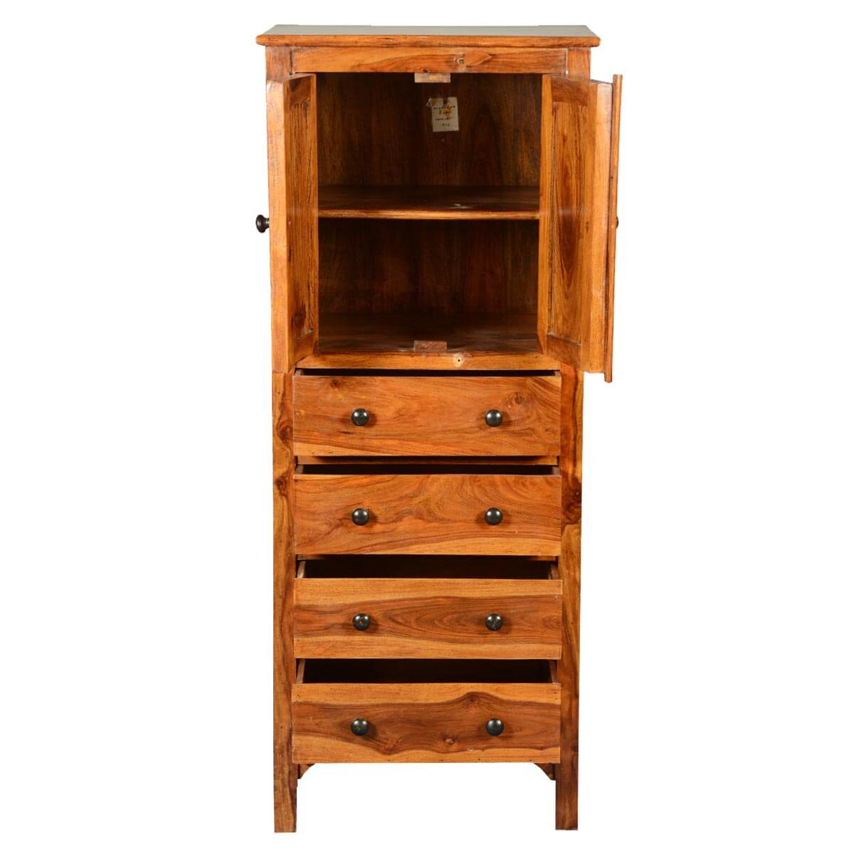 Rustic Solid Wood 56 Tall Storage Cabinet w 4 Drawers