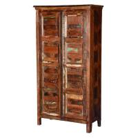 Byron Rustic Solid Reclaimed Wood 2 Door Tall Storage Cabinet