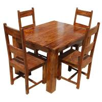 Rustic Mission Santa Cruz Solid Wood Dining Room Set For 4 ...