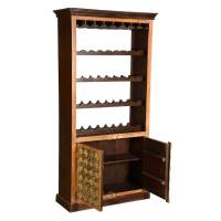 Lodi Golden Diamonds Brass Inlay Mango Wood Tall Wine Rack