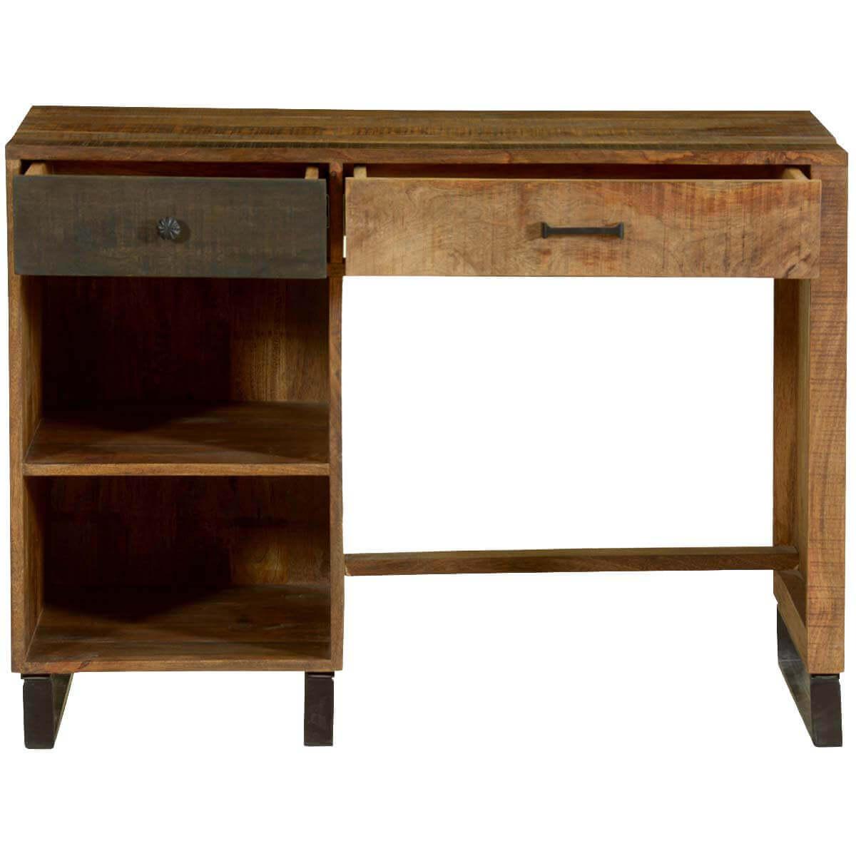 Wooden Patches Mango Wood Iron Modern Desk W Open Shelves