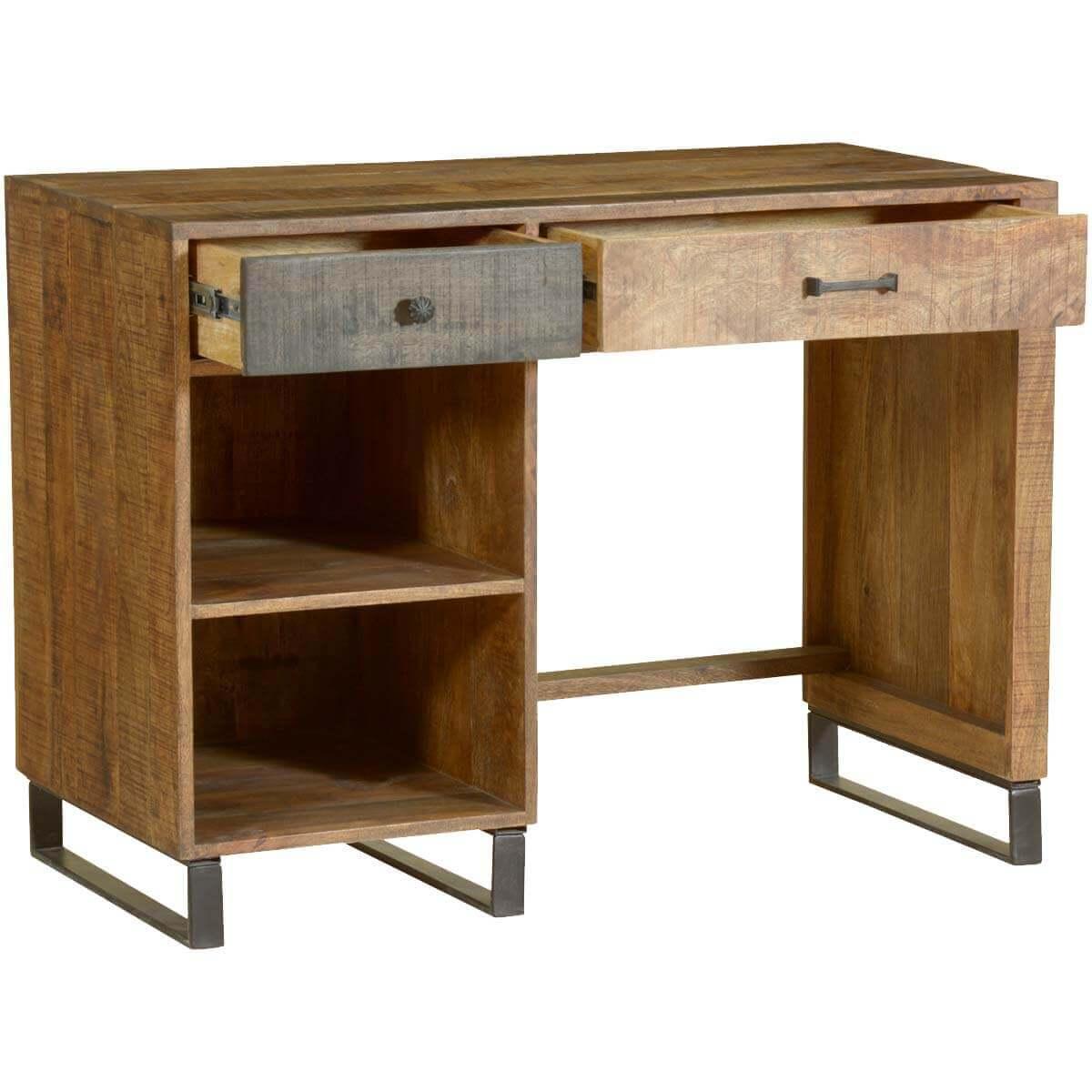 Wooden Patches Mango Wood & Iron Modern Desk w Open Shelves