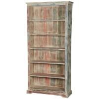 "White Washed Reclaimed Wood 6-Shelf 78.5"" Bookcase Open ..."