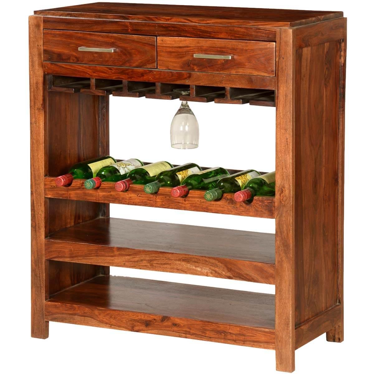 Pioneer Modern Solid Wood 7 Bottle Wine Rack Bar Cabinet