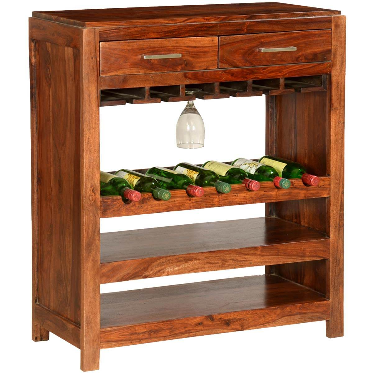 Pioneer Modern Solid Wood 7 Bottle Wine Rack Bar Cabinet