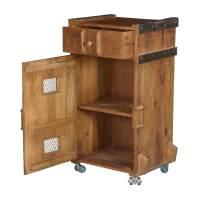 Farmhouse Vegetable Bin Mango Wood Rolling Cabinet