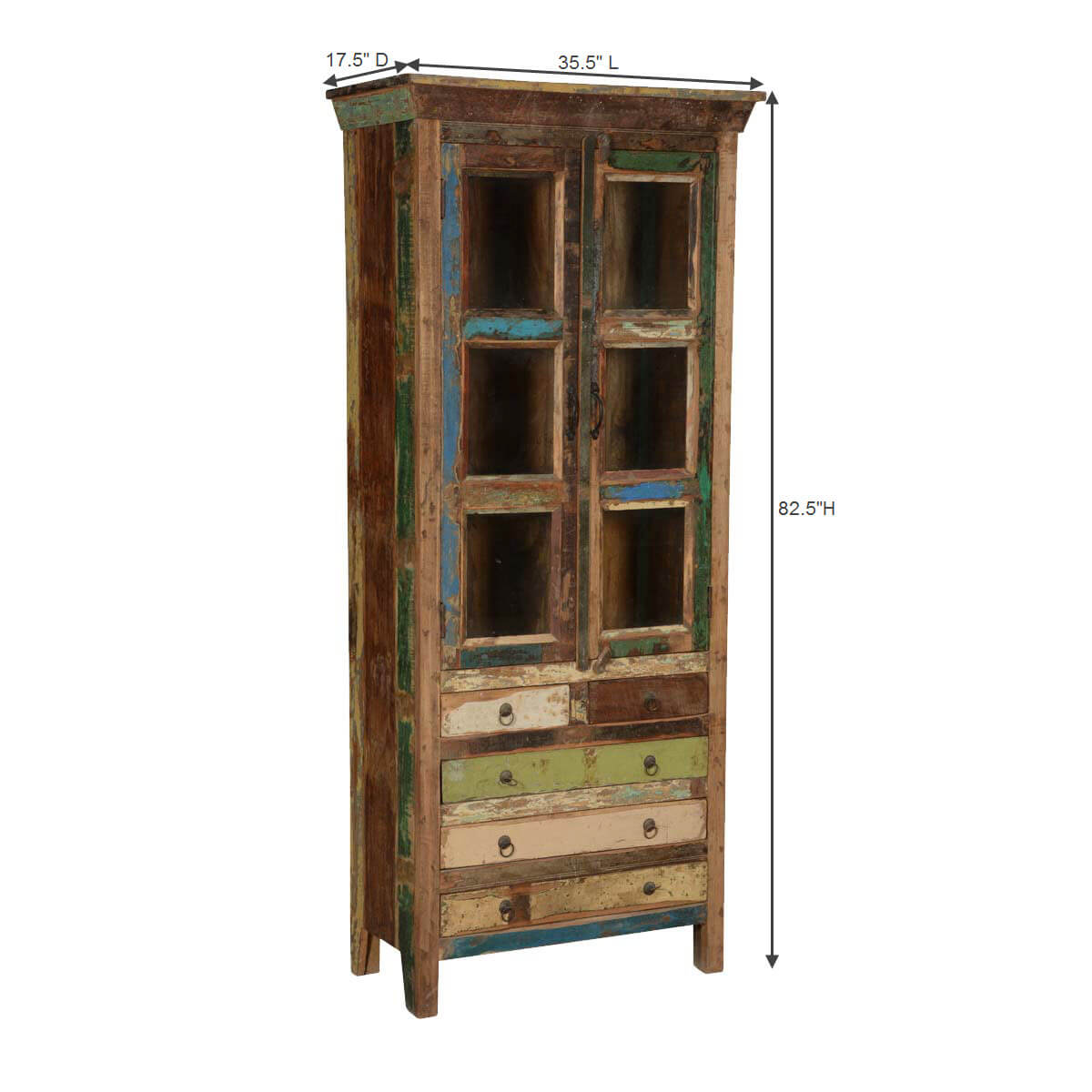Brazoria Rustic Reclaimed Wood 5 Drawer Glass Door Tall