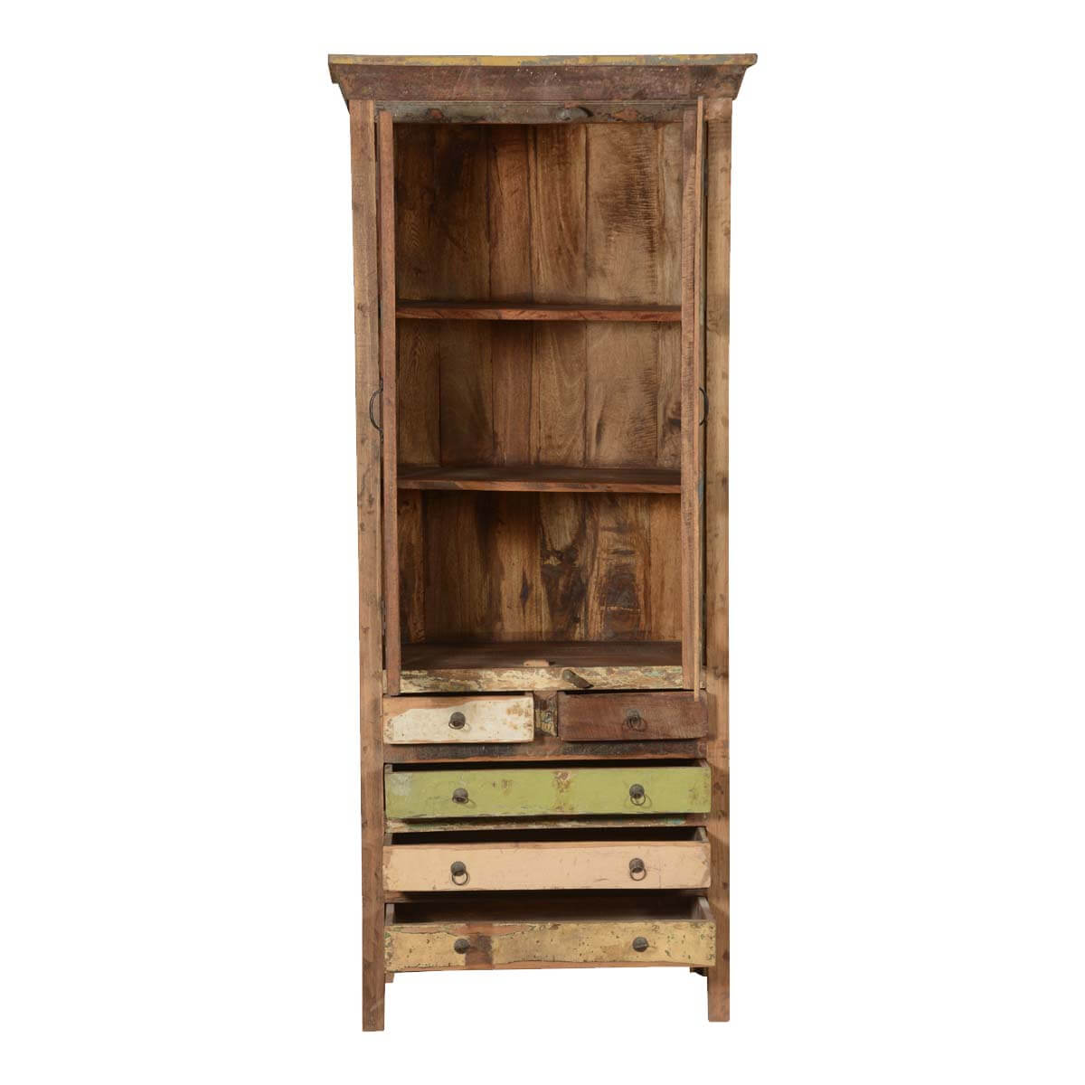 Brazoria Rustic Reclaimed Wood 5 Drawer Glass Door Tall