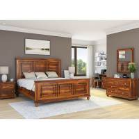 Pecos Solid Wood Full Size Platform Bed 7pc Bedroom