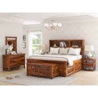 Mission Modern Solid Wood King Size Platform Bed 7pc ...
