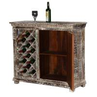 Chartres Distressed Solid Wood Rustic Bar Cabinet with ...
