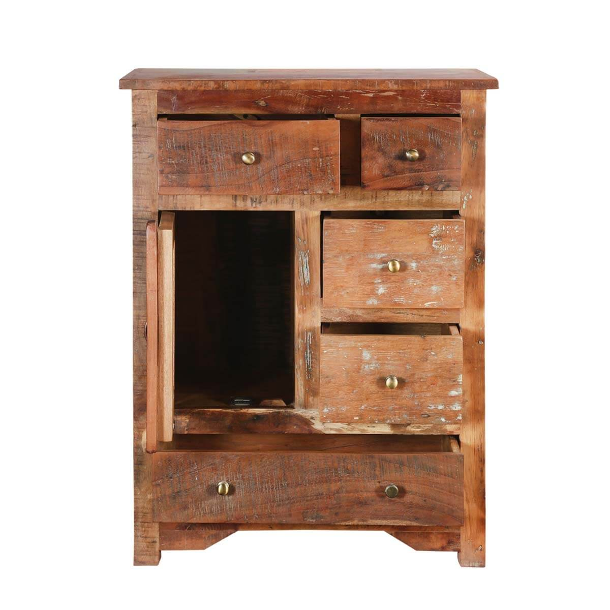 Richmond Natural Rustic Wood 5 Drawers Accent Storage Cabinet