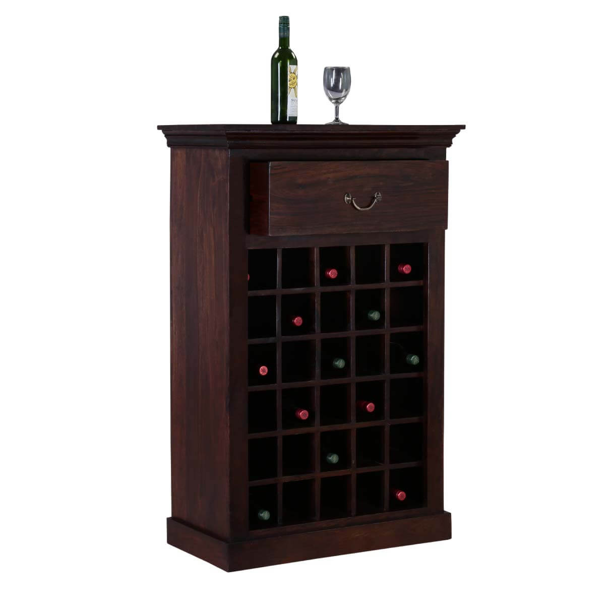 Cecil Rustic Solid Wood 30 Bottle Wine Rack Cabinet