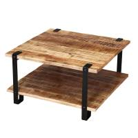 Roxborough Rustic Industrial Square Coffee Table With Saw ...