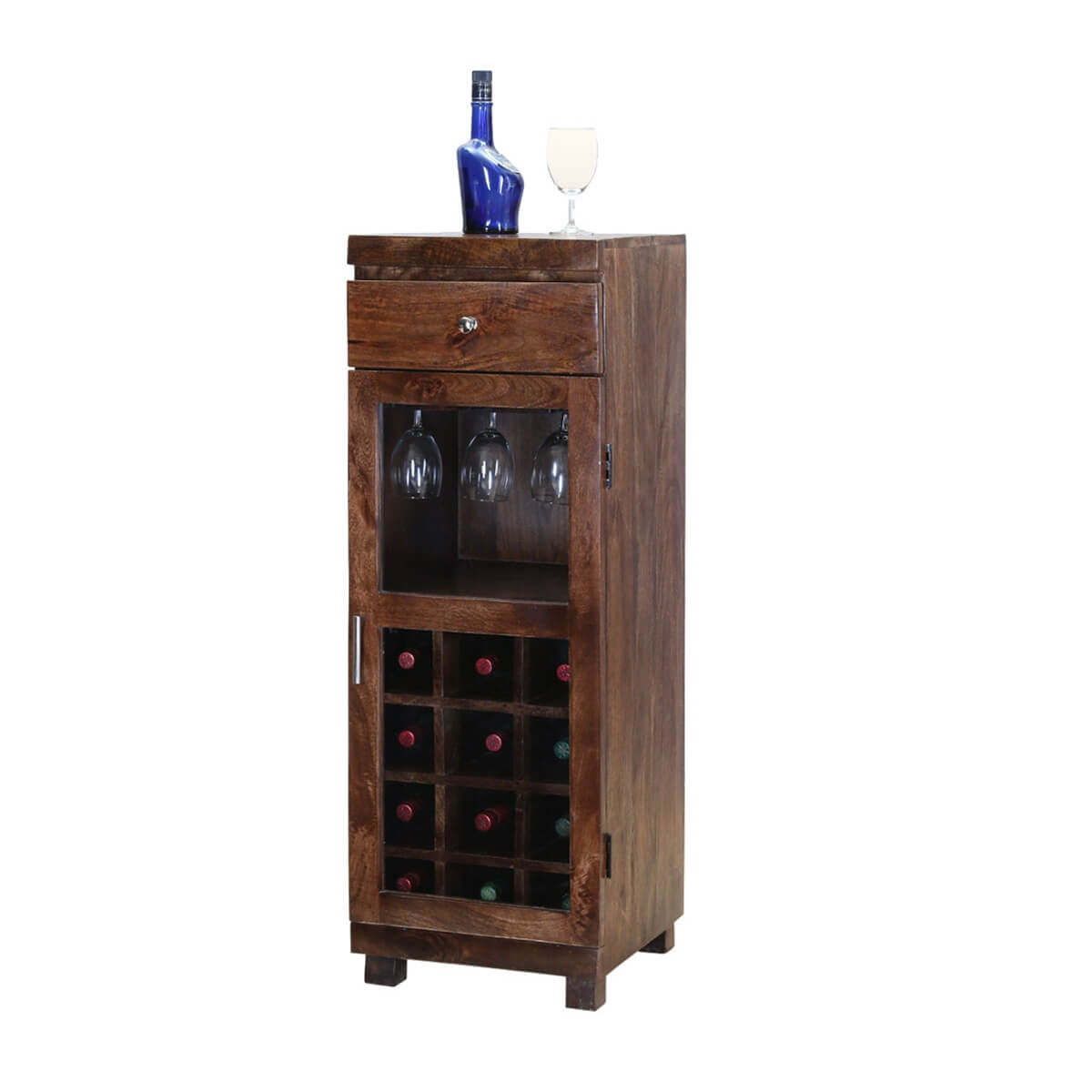 Pioneer Rustic Mango Wood 12 Bottle Wine Rack Cabinet
