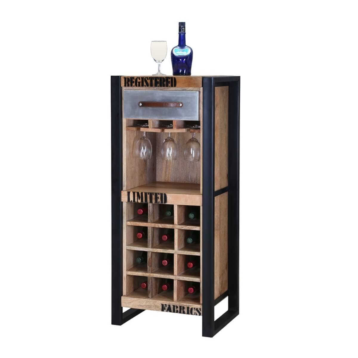 Modern Industrial Rustic Mango Wood 12 Space Wine Rack Cabinet