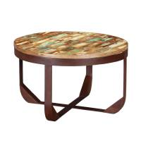 Reclaimed Wood Industrial Round Coffee Table