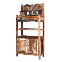 Rustic Farmhouse Reclaimed Wood 72 Bakers Rack Wall Cabinet