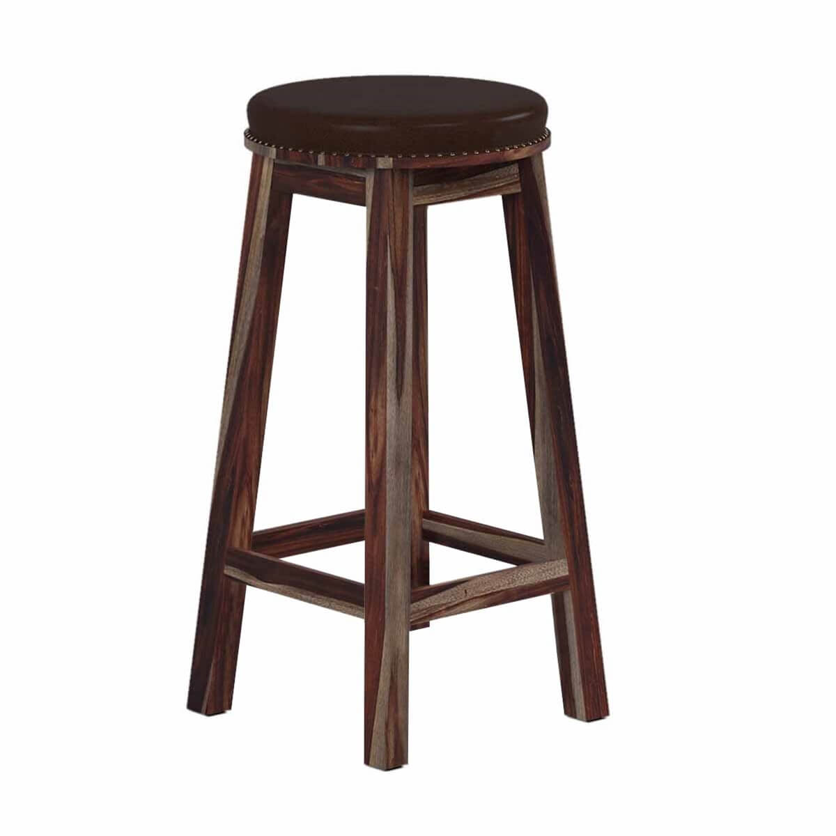 Classic Rustic Solid Wood & Leather Upholstered Round Bar