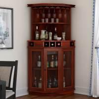 Griffin Glass Door Solid Rosewood Corner Wine Bar Cabinet