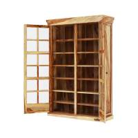 Peoria Rustic Solid Wood Glass Sliding Door Large Storage ...
