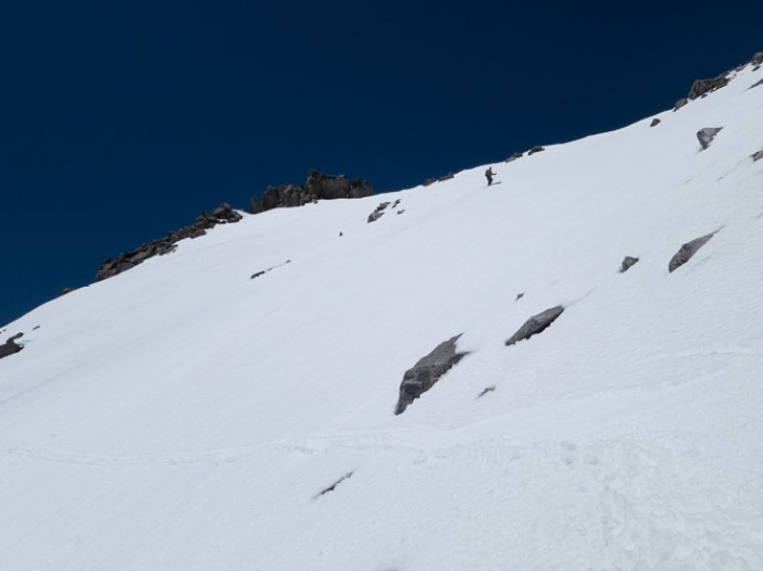 Dropping in on Mt. Agassiz.