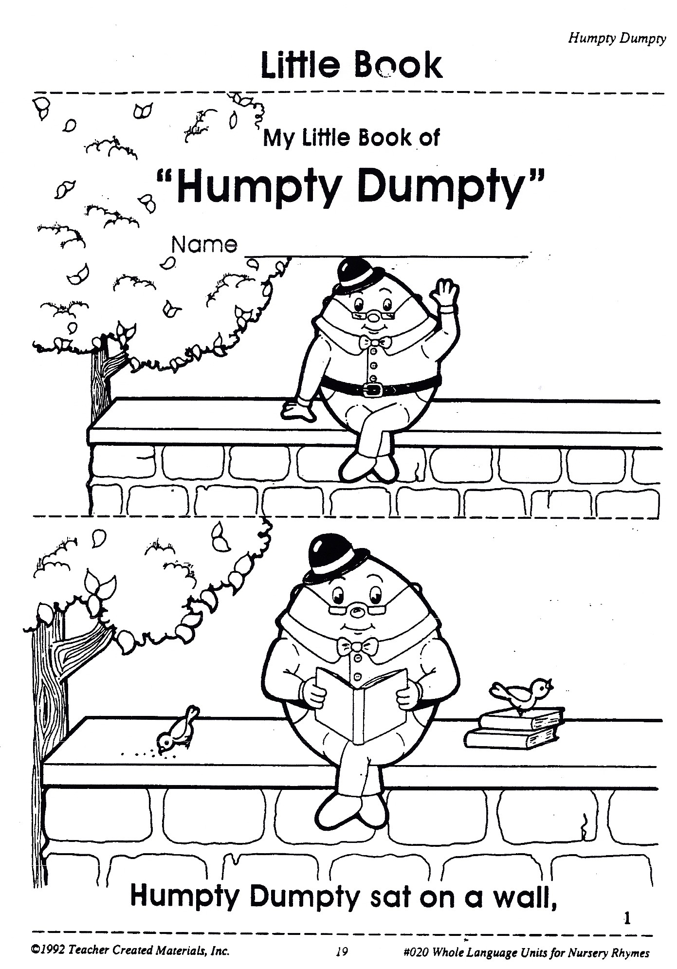 Free coloring pages humpty dumpty