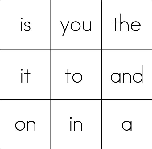 Sight Word Game BINGO - dolch sight word flashcards