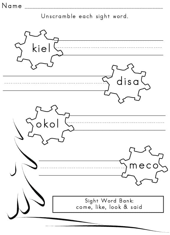 Free Sight Word Worksheets and Printables - Sight Words, Reading