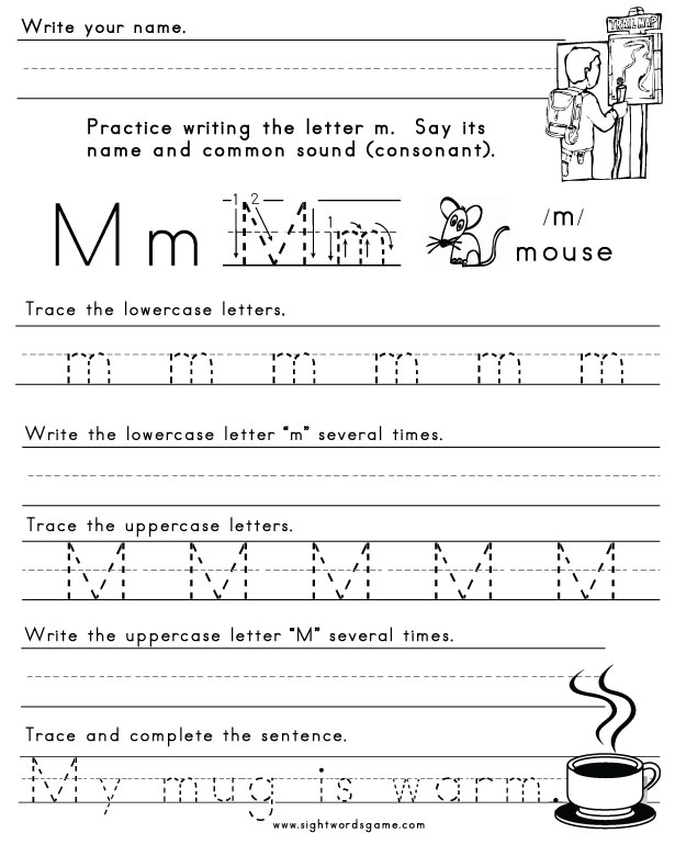 The Letter M - Sight Words, Reading, Writing, Spelling  Worksheets
