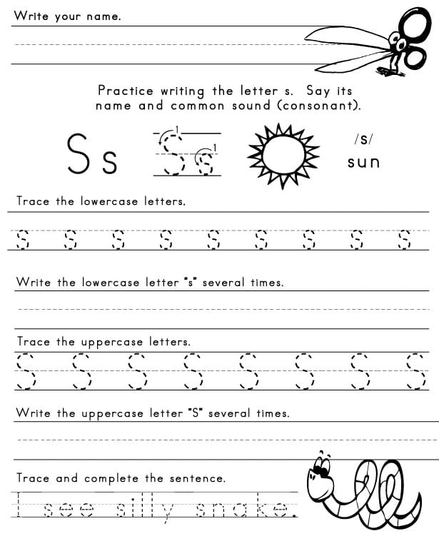 The Letter S - Sight Words, Reading, Writing, Spelling  Worksheets