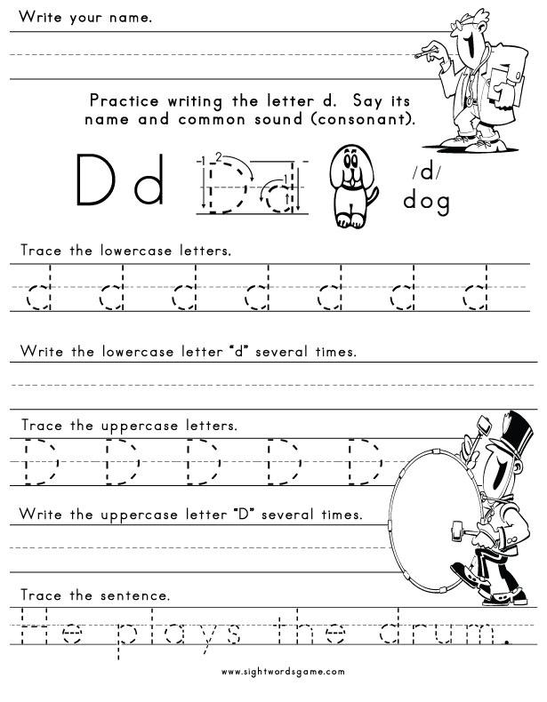 math worksheet : letter d activities  functional consultant resume format : Kidzone Worksheets Kindergarten