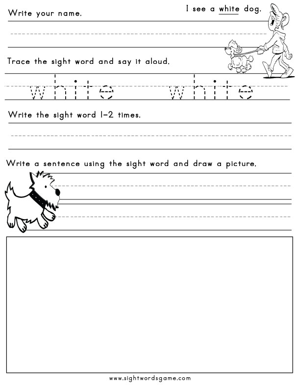 Color Worksheets - Sight Words, Reading, Writing, Spelling  Worksheets