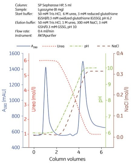 Refolding using ion exchange chromatography and analysis of - cation exchange chromatography