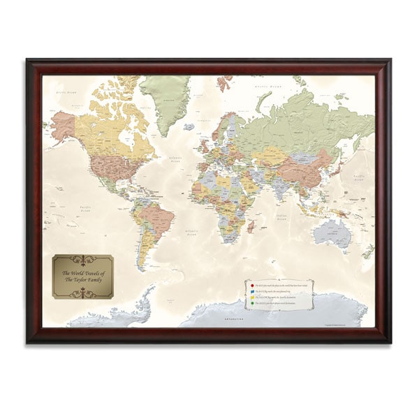 Personalized World Traveler Map Set Framed with Pins at Signals HA9222 - pins on a map