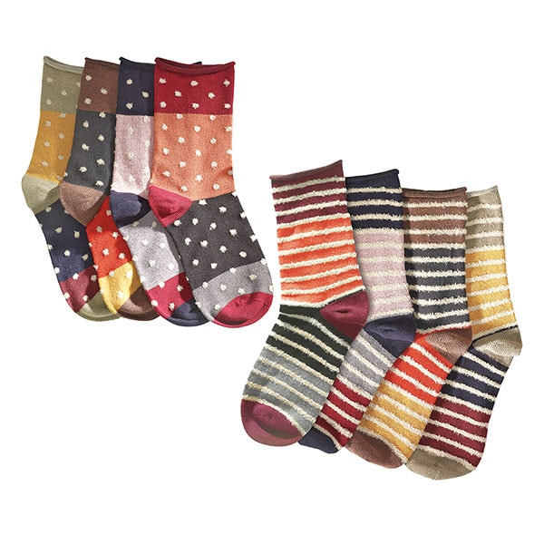 Mismatched Socks Gift Set 4 Pair Striped 4 Pair Polka Dots (8 pair - stripes with polka dots