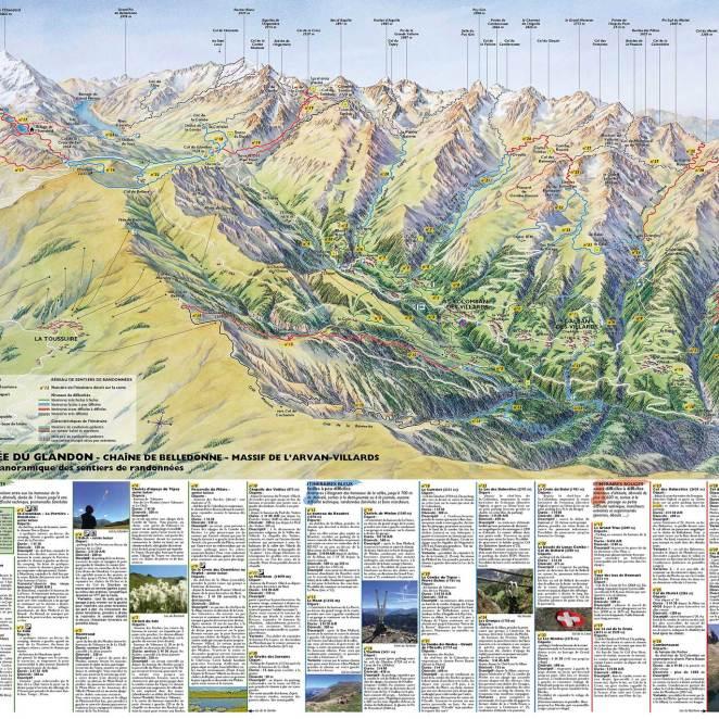 Carte panoramique sentiers de la vallée des Villards (73)