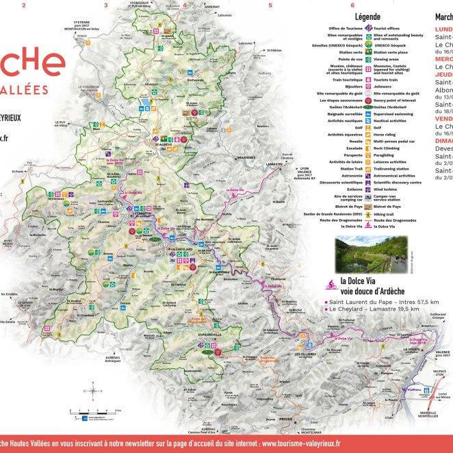 Carte touristique Ardèche Haute Vallées (07)