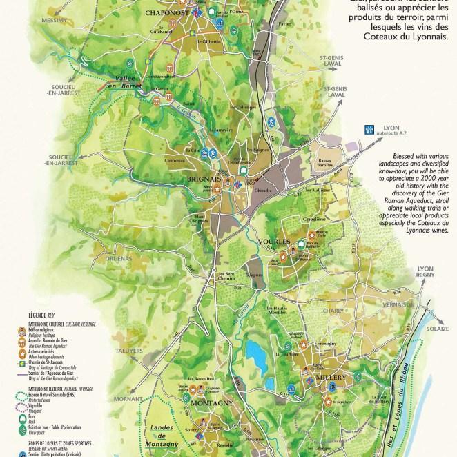 Carte touristique vallée du Garon (69)